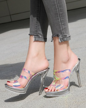 Etiquette discolor sandals cozy summer high-heeled shoes