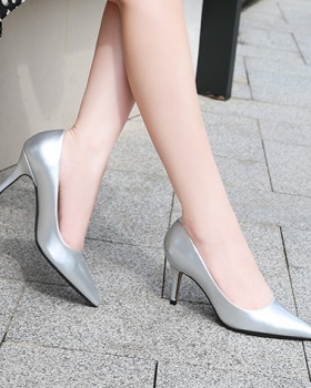 Pointed lady pure high-heeled shoes low fine-root shoes