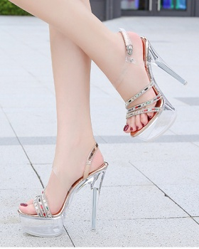 Night show catwalk transparent shoes for women
