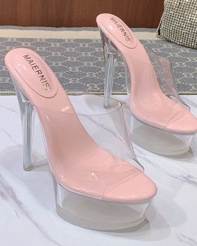 Korean style slippers crystal high-heeled shoes for women