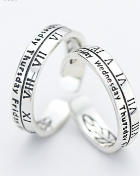 Antique silver opening rome couples digital retro ring