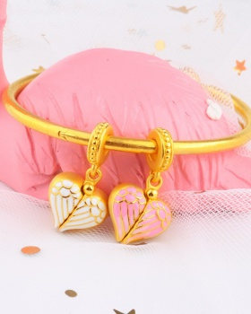 Beads pink pendant clavicle necklace gold heart bracelets