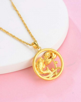 Lotus pendant girl gilded necklace