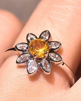 European style rhinestone colors wedding sun flower retro ring