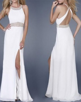 White round neck wedding milk silk evening dress
