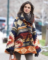 Hooded stripe overcoat autumn and winter coat