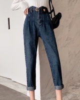Retro straight jeans all-match high waist pants for women