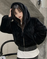 Hooded cozy short coat zip autumn and winter hoodie for women