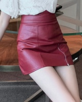 Package hip leather skirt