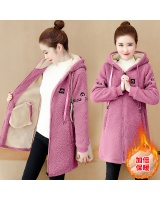 Fashion lamb fur hoodie loose thick coat for women