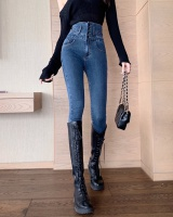 High waist breasted jeans feet long pants for women