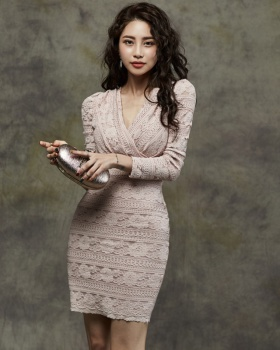Slim elegant sexy autumn and winter package hip lace dress
