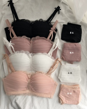 Gather lace Bra Japanese style small underwear a set