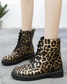 Cotton low short boots leopard martin boots