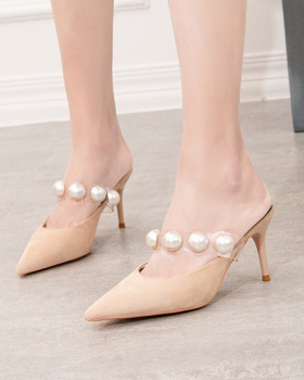 Korean style transparent slippers pointed stilettos for women