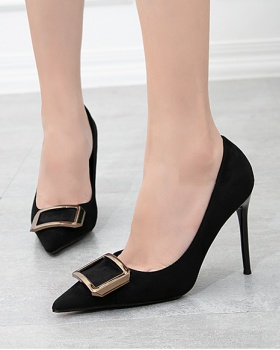 Korean style broadcloth fine-root high-heeled shoes