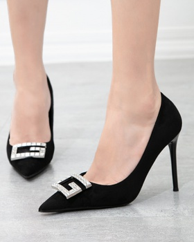 Slim sexy high-heeled shoes black Korean style shoes for women
