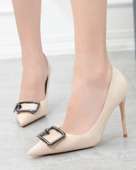 Pointed metal buckles shoes fashion stilettos