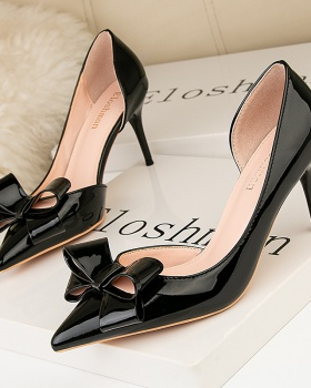 Korean style slim fashion stilettos hollow bow shoes