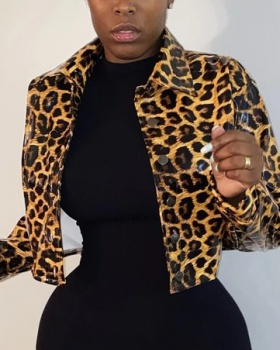 European style leopard jacket short fashion coat