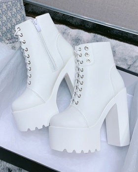 High-heeled thick crust short boots white boots for women