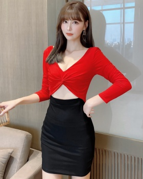 Knitted pinched waist V-neck fold temperament dress