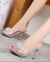 All-match rhinestone high-heeled shoes slipsole slippers for women