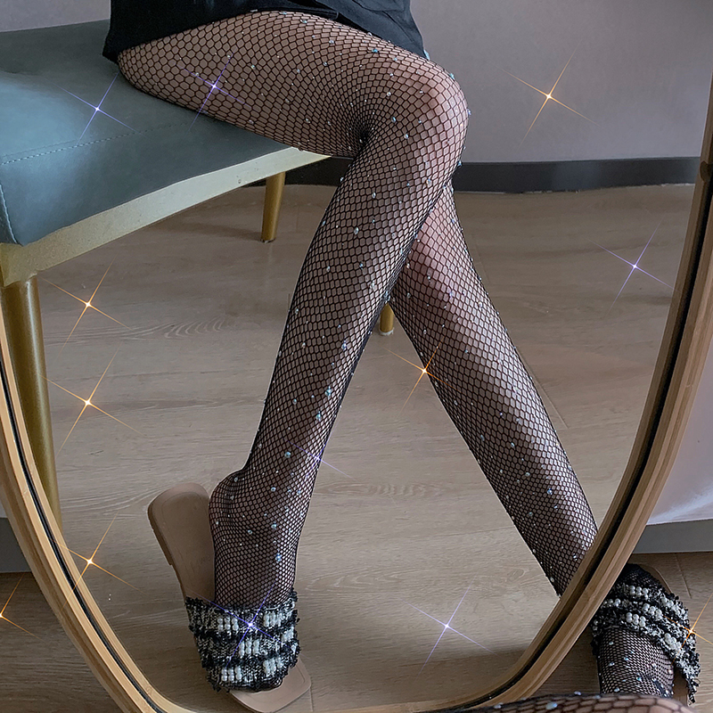 Black rhinestone fishing net tights diamond sexy mesh socks