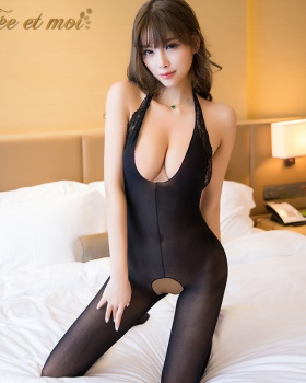 Open crotch Sexy underwear V-neck stockings for women