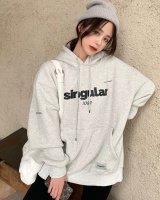Lazy autumn and winter tops loose hooded hoodie for women
