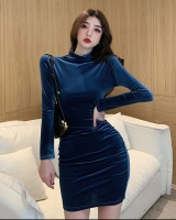 High collar temperament fold package hip dress