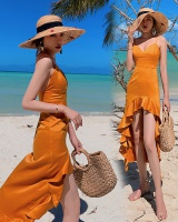 Halter vacation long dress seaside strap dress for women