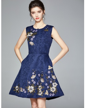 Autumn and winter embroidery jacquard dress