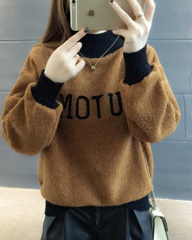 Hairy hoodie half high collar coat for women