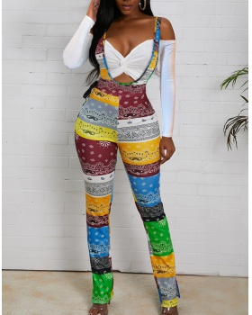 Nightclub mixed colors printing long pants for women