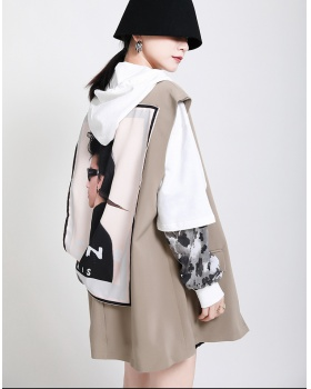 Suit collar fashion coat printing waistcoat for women