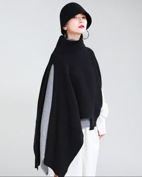 Bat catwalk wear sweater high collar pullover shawl
