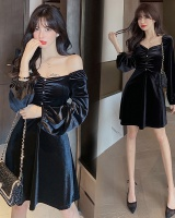 Sexy slim velvet retro square collar autumn dress