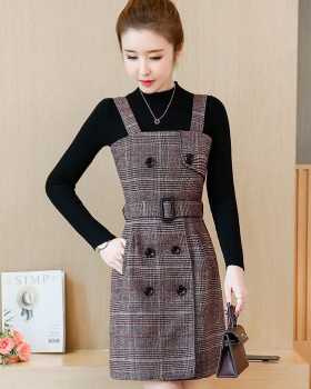 Bottoming autumn and winter knitted dress 2pcs set for women