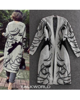 Long autumn coat loose printing cardigan for women