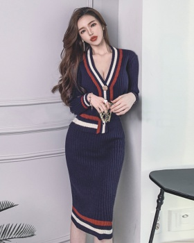 Long sleeve package hip sweater mixed colors Korean style dress