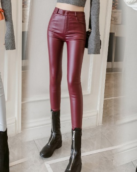 High waist pencil pants thin leather pants for women