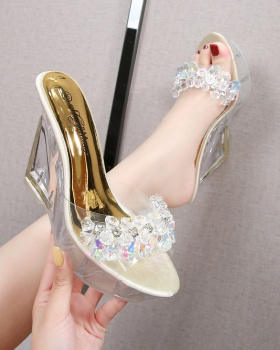 Crystal high-heeled shoes catwalk shoes for women