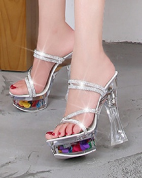 Thick lady summer platform rhinestone transparent slippers