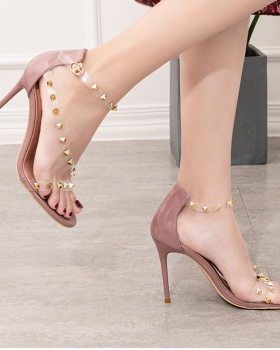 Rivet high-heeled low hollow transparent European style sandals