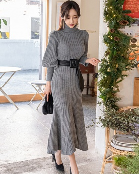 Mermaid knitted dress lantern sleeve sweater dress