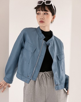 Cstand collar thick leather coat Korean style coat for women