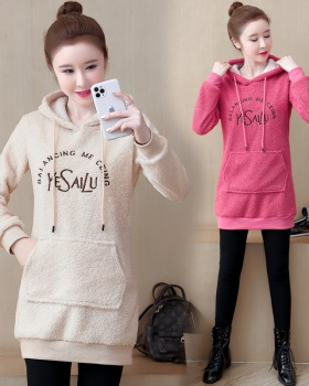 Long sleeve long loose hoodie thick plus velvet coat