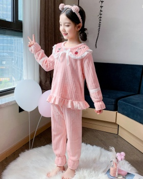 Child girl flannel homewear long sleeve pajamas a set