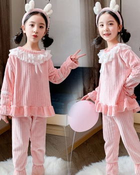 Child girl long sleeve lace winter pajamas a set